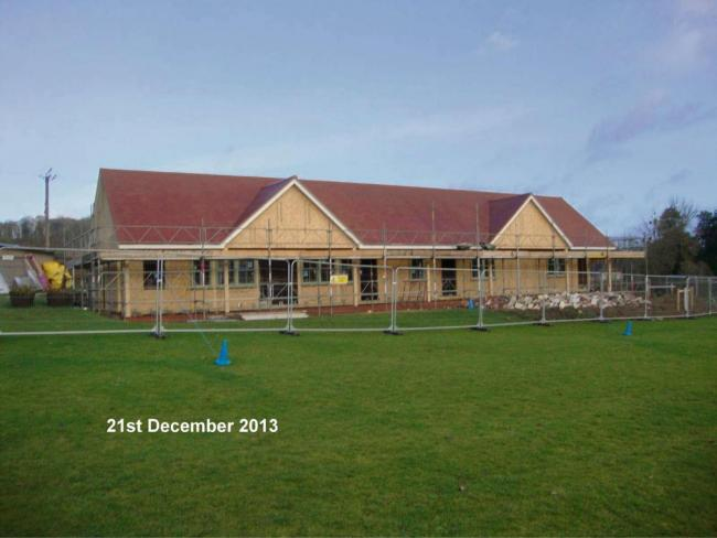Eastnor cricket pavilion pictured when it was near completion in 2014