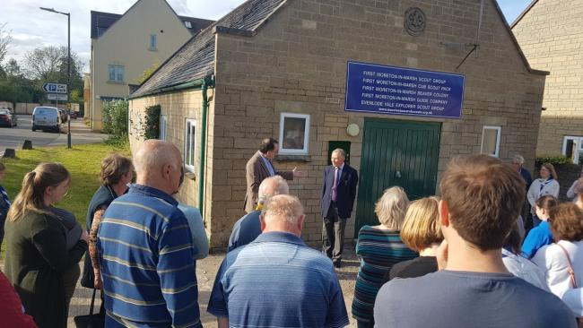y Lord Dulverton reopens the refurbished scout hut in Moreton-in-Marsh
