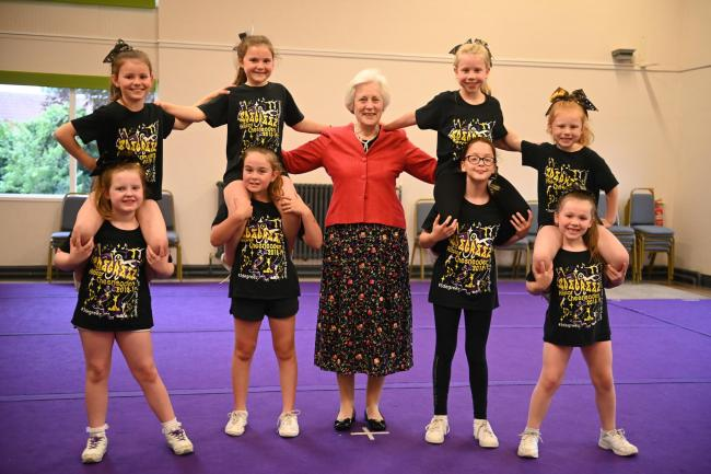 HM Lord-Lieutenant of Herefordshire, The Dowager Countess of Darnley CVO with some of the 3Degreez Cheerleaders