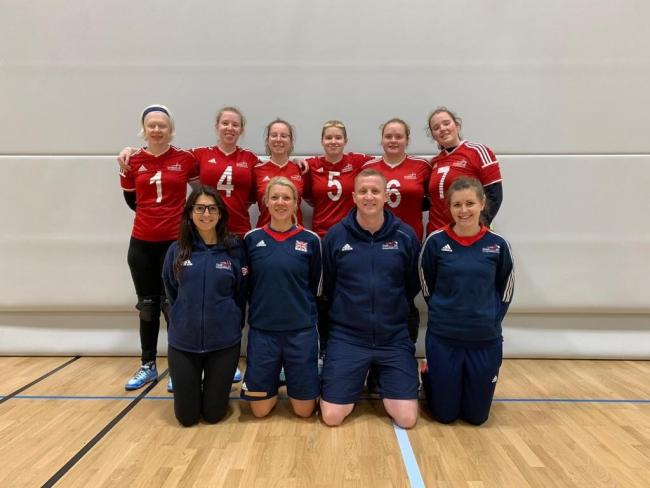 The GB Women's Goalball team includes: Top row L-R: Sarah Leiter, Georgie Bullen, Antonia Bunyan, Amelia Robertson, Kali Holder and Lois TurnerBottom row L-R: Hannah Levi (support staff), Faith Fisher (physio), Aaron Ford (head coach) and Becky Ashwor