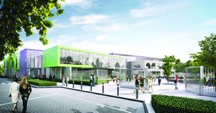 Hereford Times: A computer-generated image of how the front of the new Hereford Academy will look. Photo courtesy of Aedas Architects and Willmott Dixon Construction.