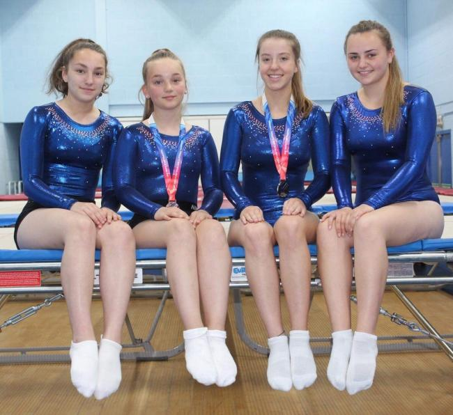 React Trampoline Club members (l-r) Anna Preece, Lily Randall, Emily Pounder and Olivia Hughes