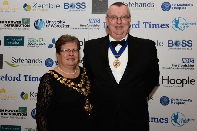Former Mayor of Hereford Sue Boulter with husband Dave at the Hereford Times Health & Social Care Awards 2018.