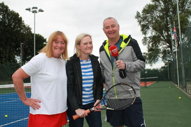 Tennis Club members Lou Cornell, left, and Max Bywater, right, chatting to Lisa Smith from Radio WM about the open event