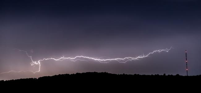 Lightning over Marcle Ridge. Photo by Andy Richardson, Hereford Times Camera Club