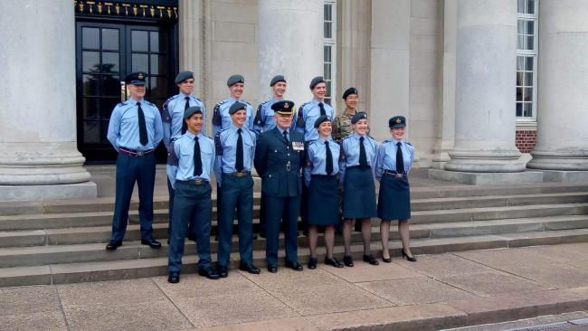 Tom, with his fellow Cadets, is second from the left in the front row