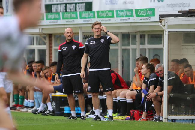 Marc Richards (right) and assistant coach Will Morford. Picture: Steve Niblett/Hereford FC