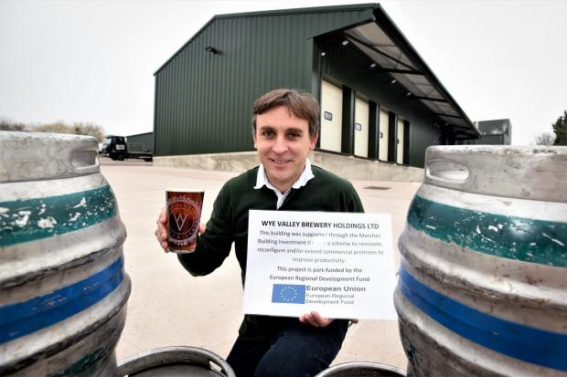 Vernon Amor, managing director of Wye Valley Brewery, is delighted after receiving a £100,000 grant.