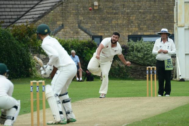 Bromyard Cricket Club v Colwall CC - Nick Brown bowling for Colwall..