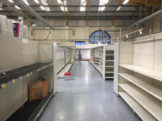 There's plenty of empty shelves in B&M in Hereford, but they will remain open through improvement works.
