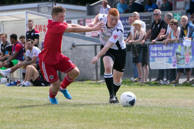 Rhys Davies in action. Picture: Andy Walkden/Hereford FC