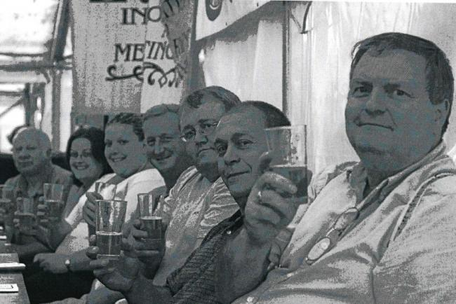 CHEERS: Today's nostalgia photo from the Worcester News archive comes from 2004's Worcester Beer and Cider Festival and features (L-R) Howard Griffiths, Nicola and Sarah Evans, Melvin Sanders, Tony Irvine, Nigel Gammon and Chris Jaeger