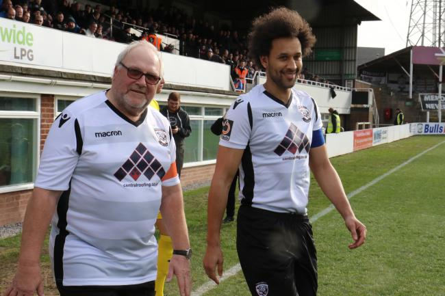 Rob Bullock (left) with Hereford captain Josh Gowling. Picture: Steve Niblett