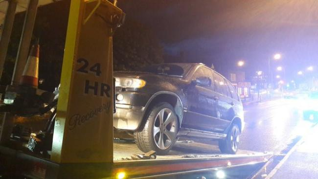 A BMW was towed away by police last night as the driver didn't have a licence. Photo: @OPUHereford