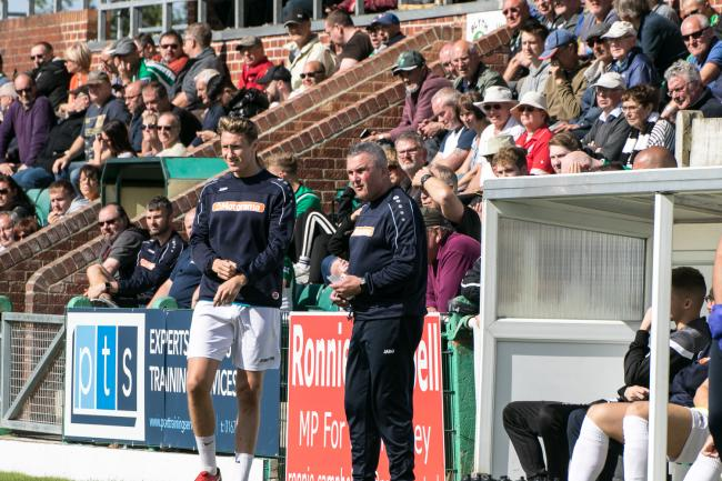 Tim Harris applauded his players focus during their 1-0 win at Blyth Spartans. Picture: Hereford FC. Picture: Andy Walkden/Hereford FC