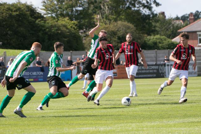 Tom Owen-Evans in action against Blyth Spartans. Picture: Andy Walkden/Hereford FC