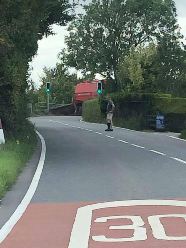 The farm vehicle stuck on Roman Road. Picture: Lucy Harris