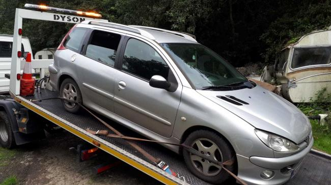 Police recovered an untaxed silver Peugeot after it was abandoned near Leominster.