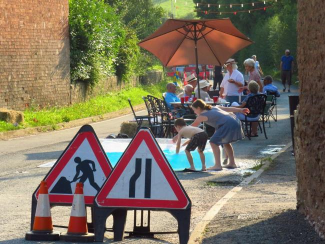 People who live on the A465 between Hereford and Bromyard held a street party, making the most of the eight-week road closure. Photo: Stoke Lacy Heritage