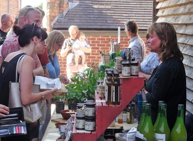 Ledbury Food Group Evening Market. Pam Davenport with her chilli products
