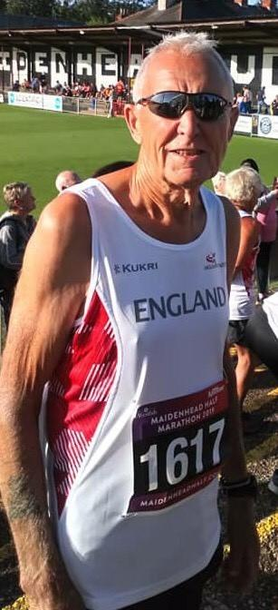 Brian Symons, from Hereford, who won bronze at the England Masters Half Marathon in Maidenhead