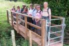 Members of Herefordshire Ramblers on a Hay Ho! Sunday Bus Walk using the new path on their way from Kingstone to Poston Mill