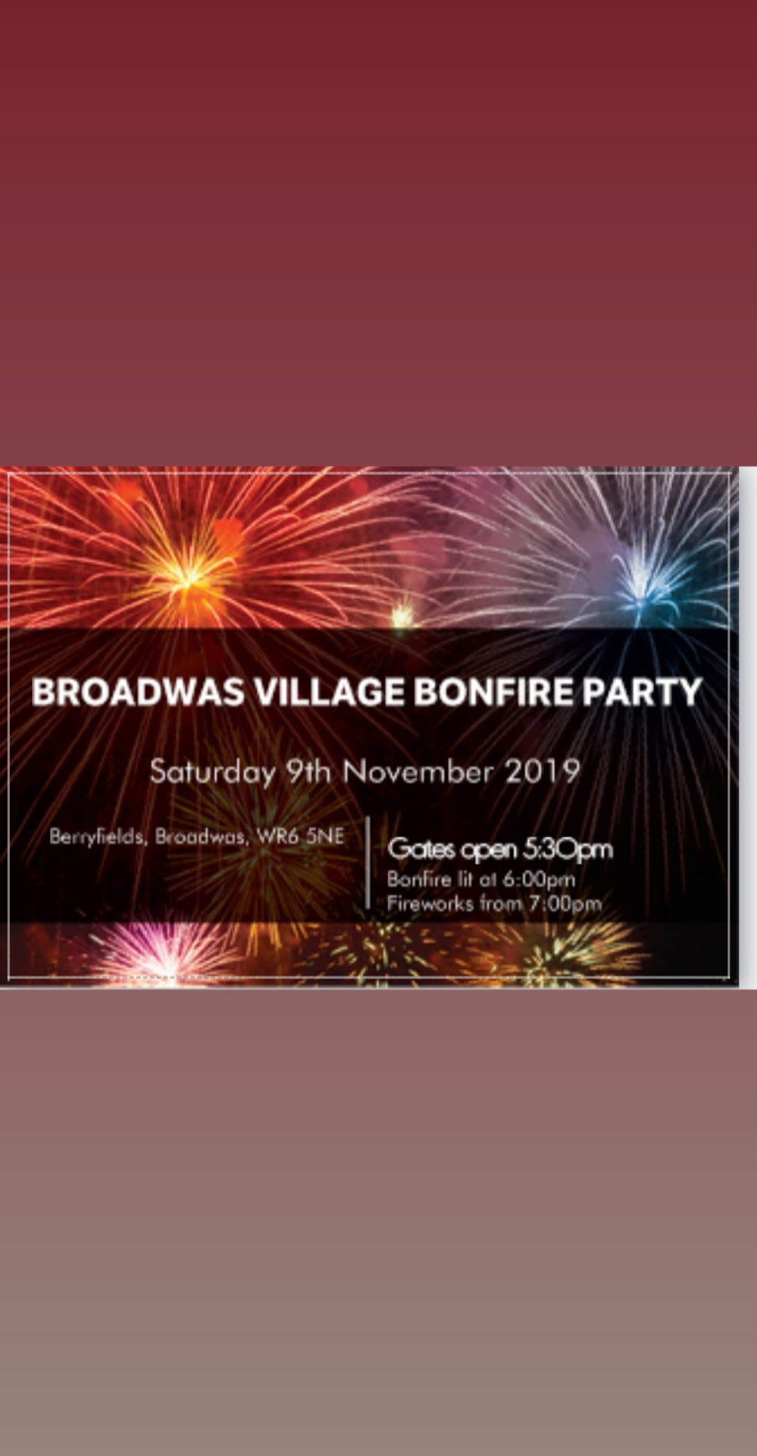 Broadwas Village Bonfire Party