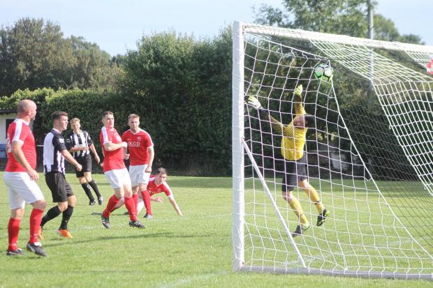 Josh Burns pulls a goal back for Ledbury making it 2-1. Picture: Matt Cale