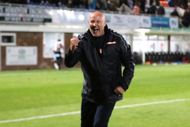 Russell Slade celebrates his first win as Hereford manager. Picture: Steve Niblett/Hereford FC