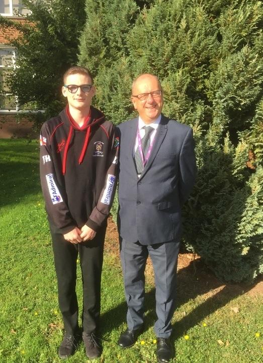 Jamie Harris with John Kyrle High School headteacher Nigel Griffiths