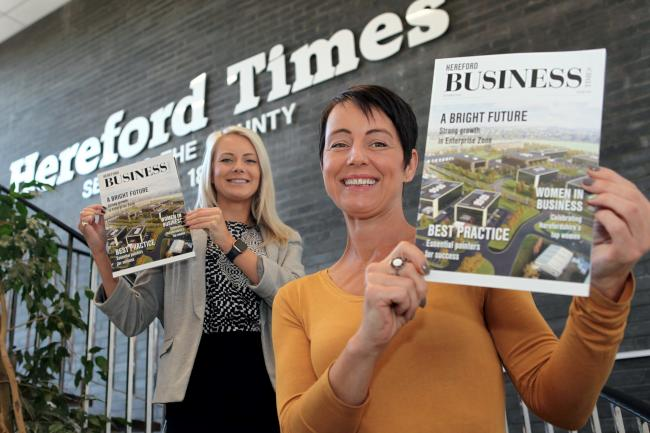 Advertising executives Abbie Greenland-Pigott and Kim Musson with Hereford Business Times, the news magazine produced by the team behind the Hereford Times