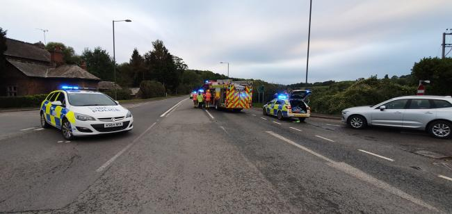 A road closure is in place on the A49 near Dinmore Hill. Picture:  West Mercia Specials