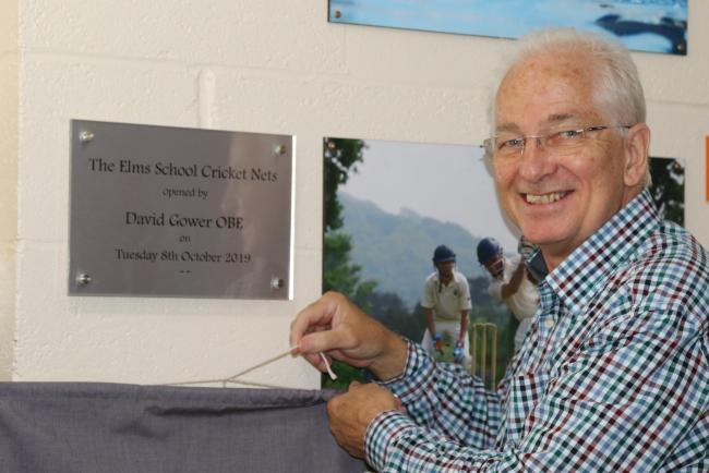David Gower at the official opening of the Elms School cricket nets