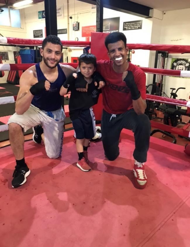South Wye Boxing Academy members (l-r) Yusuf Abdallah, Cohen Yau and Othman Said
