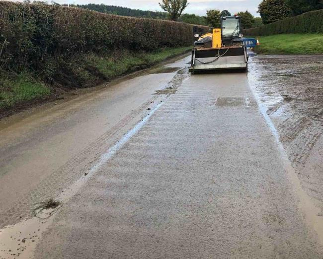 Mud is being cleared from roads around the county. Photo: Herefordshire Council/Balfour Beatty Living Places