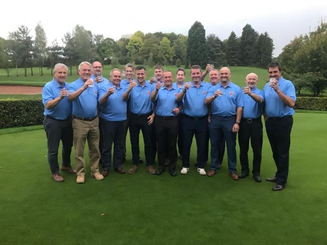 Ross Golf Club's 2019 'B' Team toasting themselves as North Glos inaugural Division 1 'B' Team League Champions
