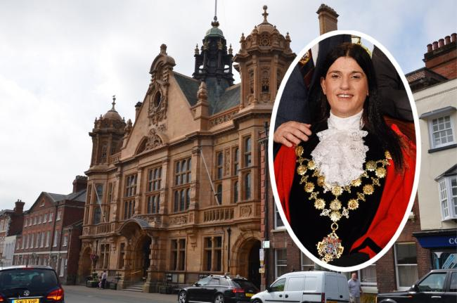 Hereford Town Hall with mayor Kath Hey inset.