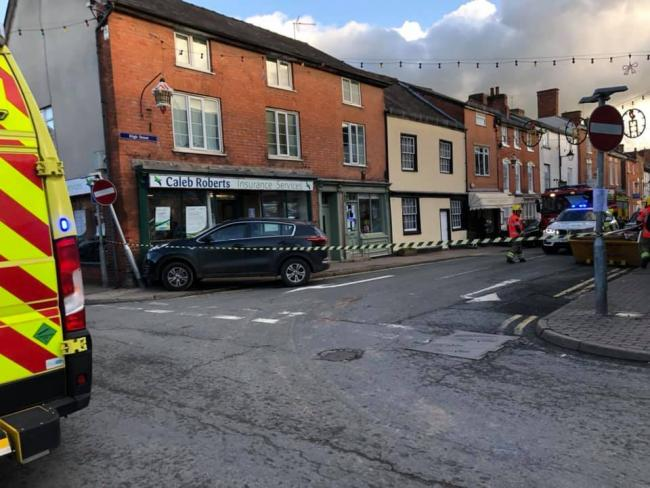 A car has crashed into a store in Bromyard, and High Street is blocked. Photo: Andy Jones