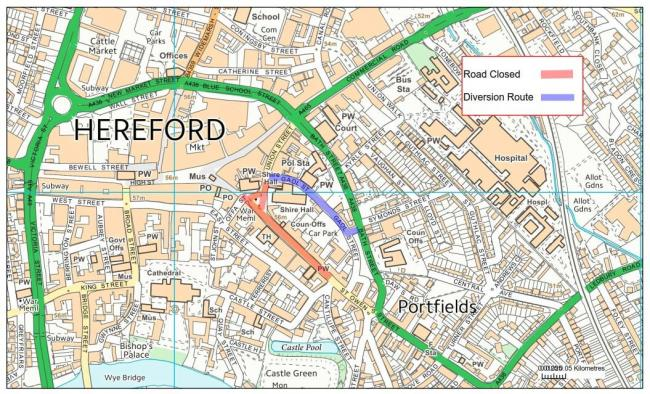Armistice Day road closures in Hereford. Picture courtesy of Herefordshire Council/Balfour Beatty Living Places