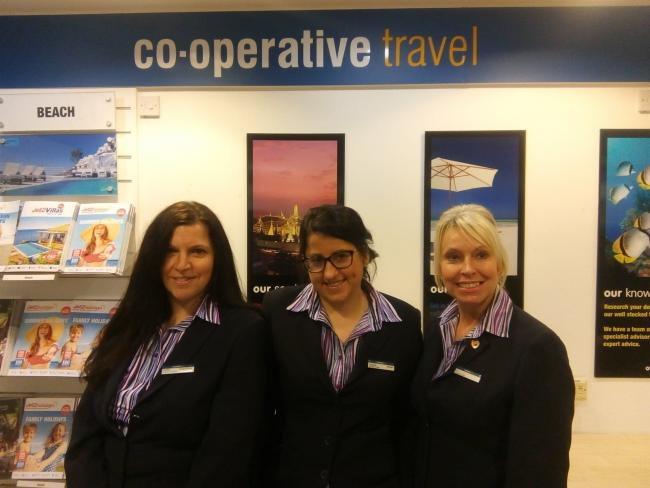 Co-operative Travel assistant manager Caroline Hubble, manager Stephanie Thompson and senior travel consultant Linda Holford
