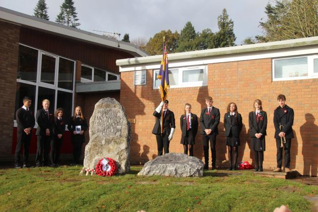 Pupils from Lady Hawkins' School, Kington with a new memorial. Photo: Stephen Grist