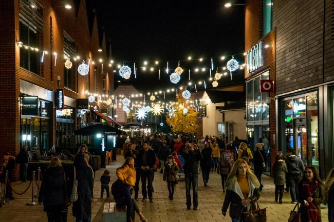 Christmas lights at Hereford's Old Market