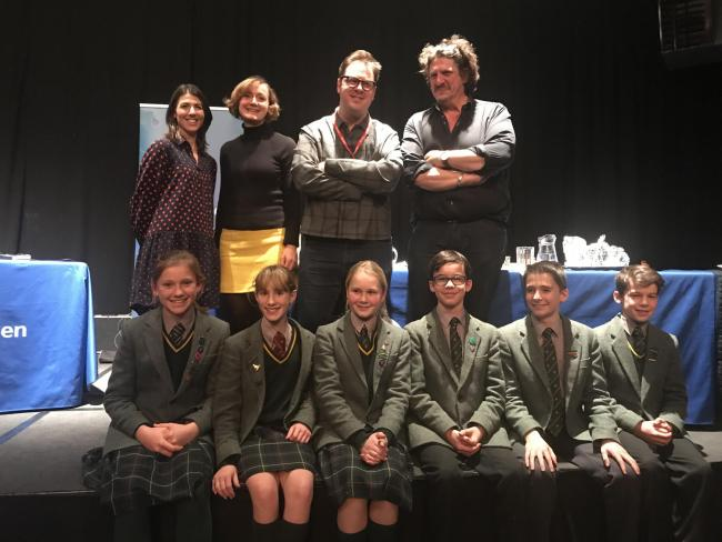 The Kitchen Cabinet panel with some of the Moor Park Year 8 cohort. Back row, from left:  Sophie Wright, Polly Russell, Tim Anderson, Jay Rayner. Front row, from left: Isabella Hathaway, Isadora Bury, Libby Hunt, Jack Atkinson, Marco Photo: Louise Mair
