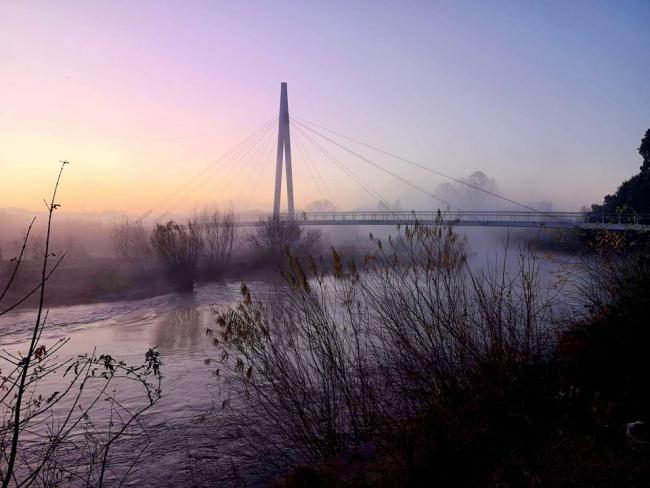 Misty morning at the Greenway bridge, Hereford. Picture: Malcolm Hince
