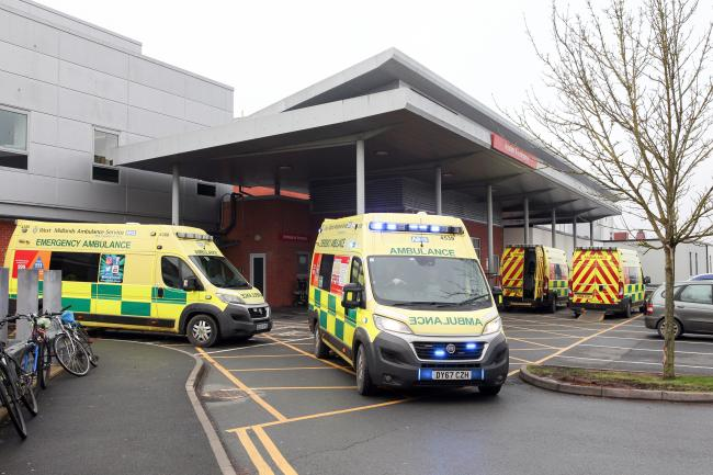 Ambulances with A&E patients queue outside Hereford hospital. Picture: Rob Davies