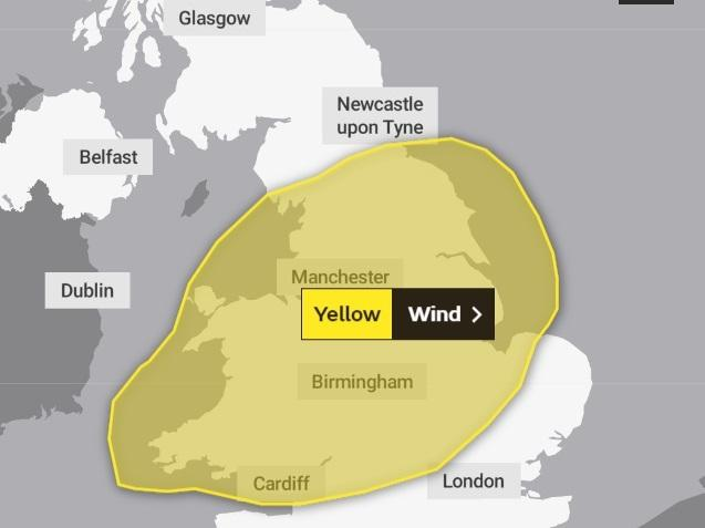 A yellow weather warning is in force. Photo: The Met Office