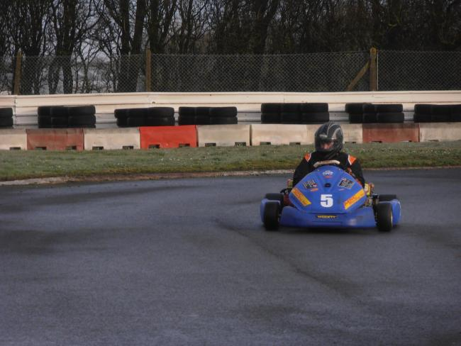 Cam Wheatley in action in the Luck Trading Ltd sponsored MSC Racing Inc GX200 Kart
