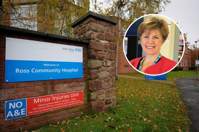 Ross Community Hospital. Inset: Wye Valley NHS Trust managing director Jane Ives.