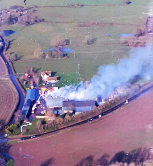 Aerial picture of farm building fire at Stretford, near Leominster. Picture: Joanne Turner