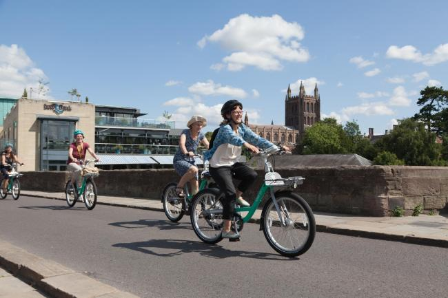 Cycling in Hereford. Picture: Beryl Bikes